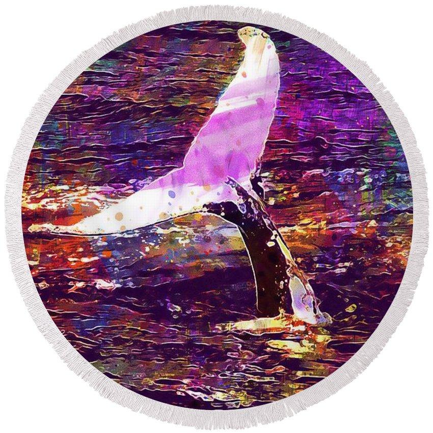 Whale Round Beach Towel featuring the digital art Whale Tail Ocean Animal Sea Water by PixBreak Art