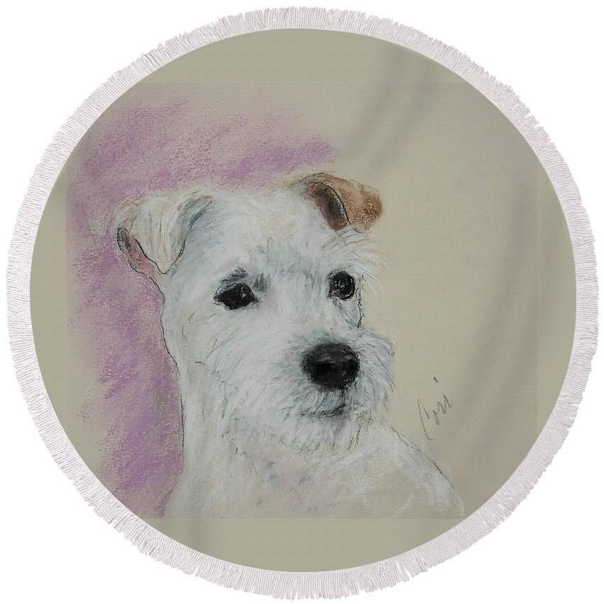 Pastel Round Beach Towel featuring the drawing What A Riot by Cori Solomon