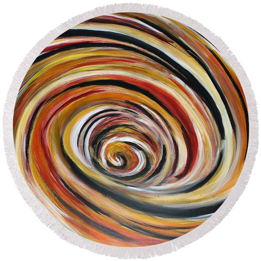 Circle Geometric Shape Abstract Round Beach Towel featuring the painting What Goes Around Comes Around by Yael VanGruber