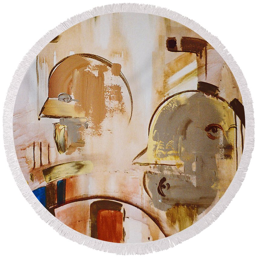 Abstract Round Beach Towel featuring the painting What Is Identity by Stephen Lucas
