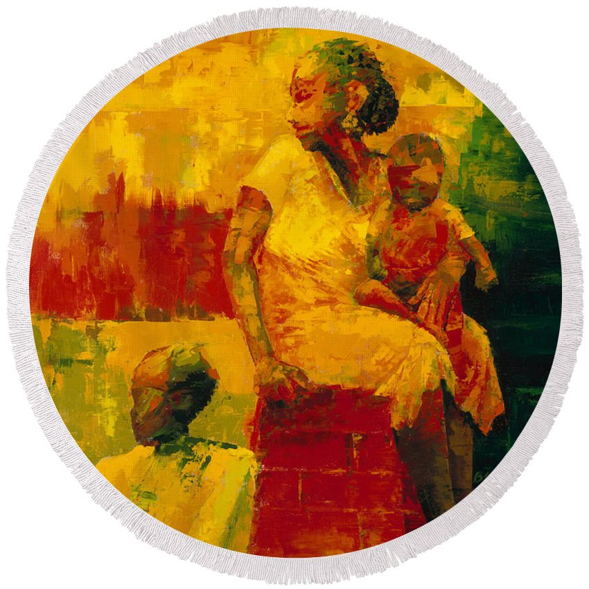 What Is It Ma? 1994 (oil On Board) By Bayo Iribhogbe (contemporary Artist) Round Beach Towel featuring the painting What Is It Ma by Bayo Iribhogbe