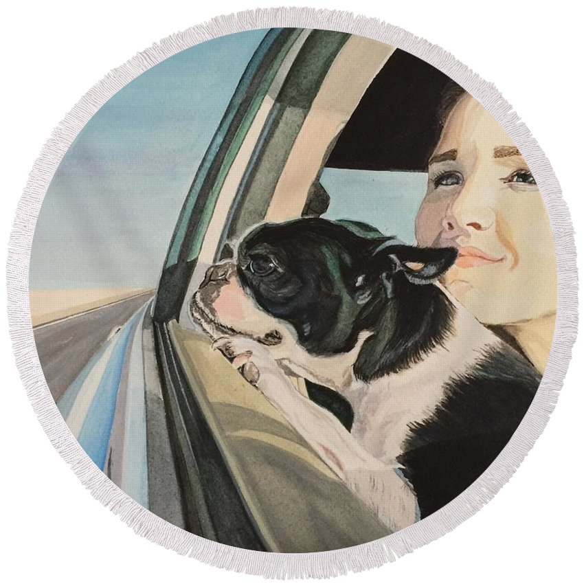 Boston Terrier Round Beach Towel featuring the painting What Lies Beyond by Sonja Jones