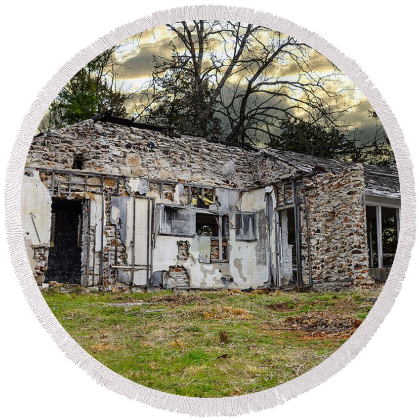 Abandoned Round Beach Towel featuring the photograph What Remains by Jennifer White