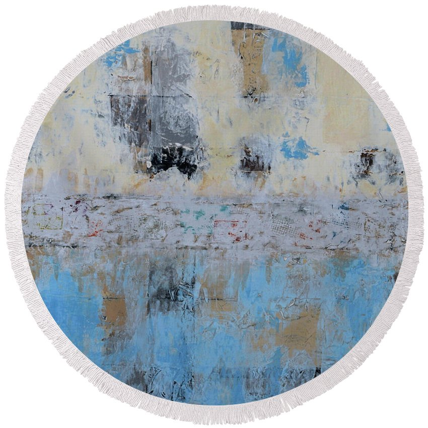 Original Round Beach Towel featuring the painting What Was Is by Jim Benest