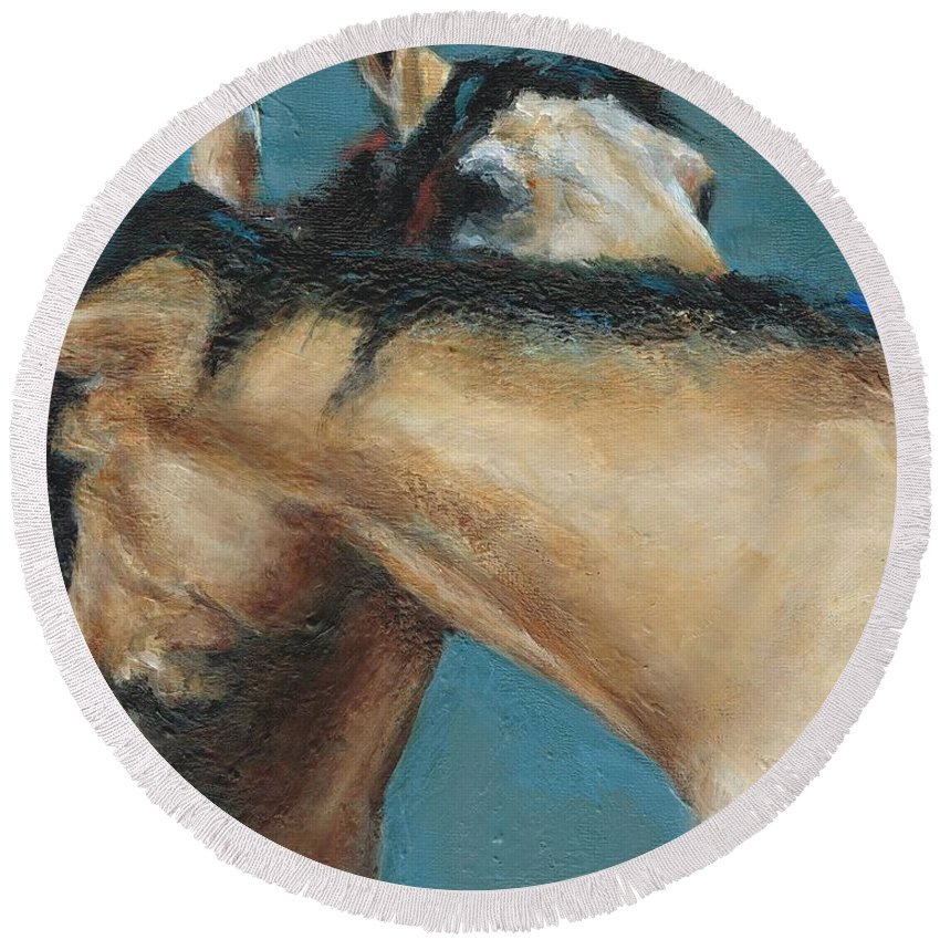 Horses Round Beach Towel featuring the painting What We Can All Use A Little Of by Frances Marino