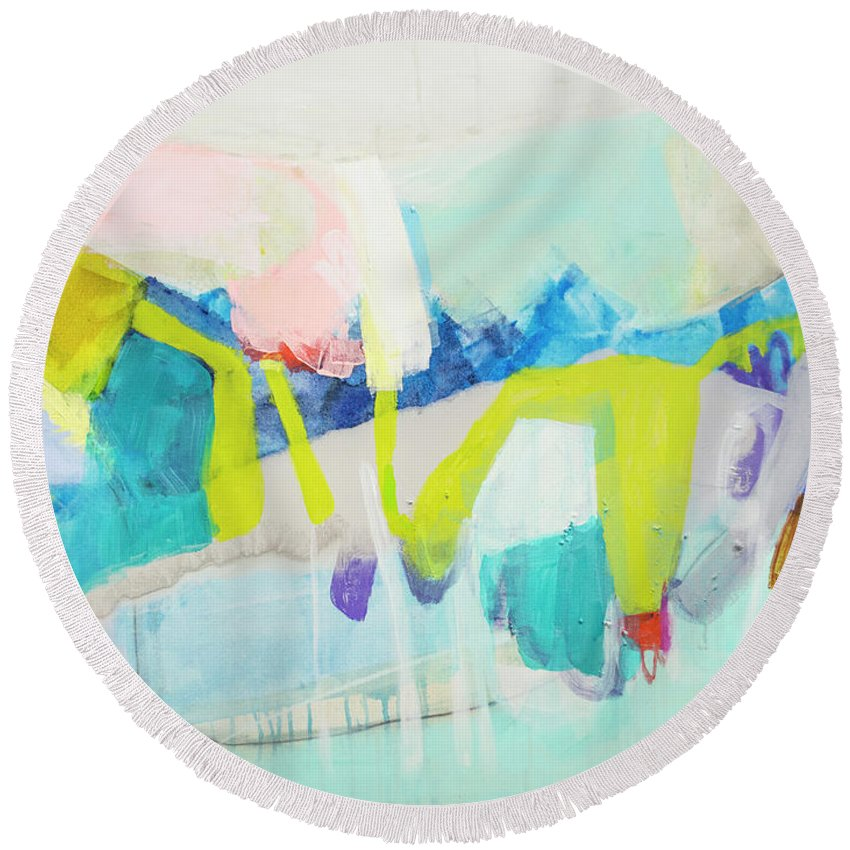 Abstract Round Beach Towel featuring the painting Whatever Makes You Happy by Claire Desjardins