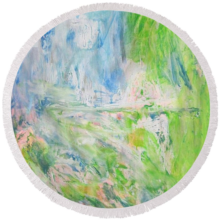 Acrylic Colors Round Beach Towel featuring the painting Whatever You See by Pilbri