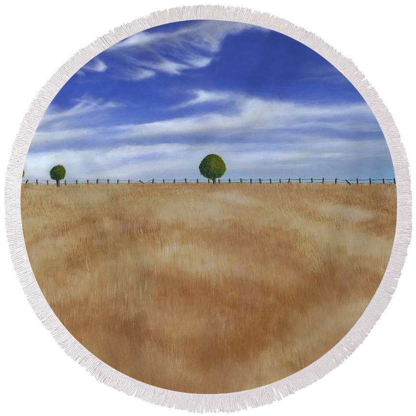 Ne Round Beach Towel featuring the painting Wheat Field by Cindy D Chinn