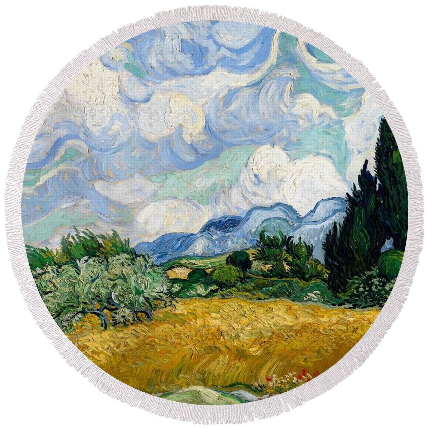 Vincent Van Gogh Round Beach Towel featuring the painting Wheatfield With Cypresses by Van Gogh