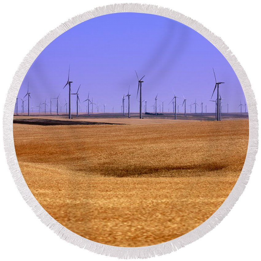 Wind Turbines Round Beach Towel featuring the photograph Wheat Fields And Wind Turbines by Carol Groenen