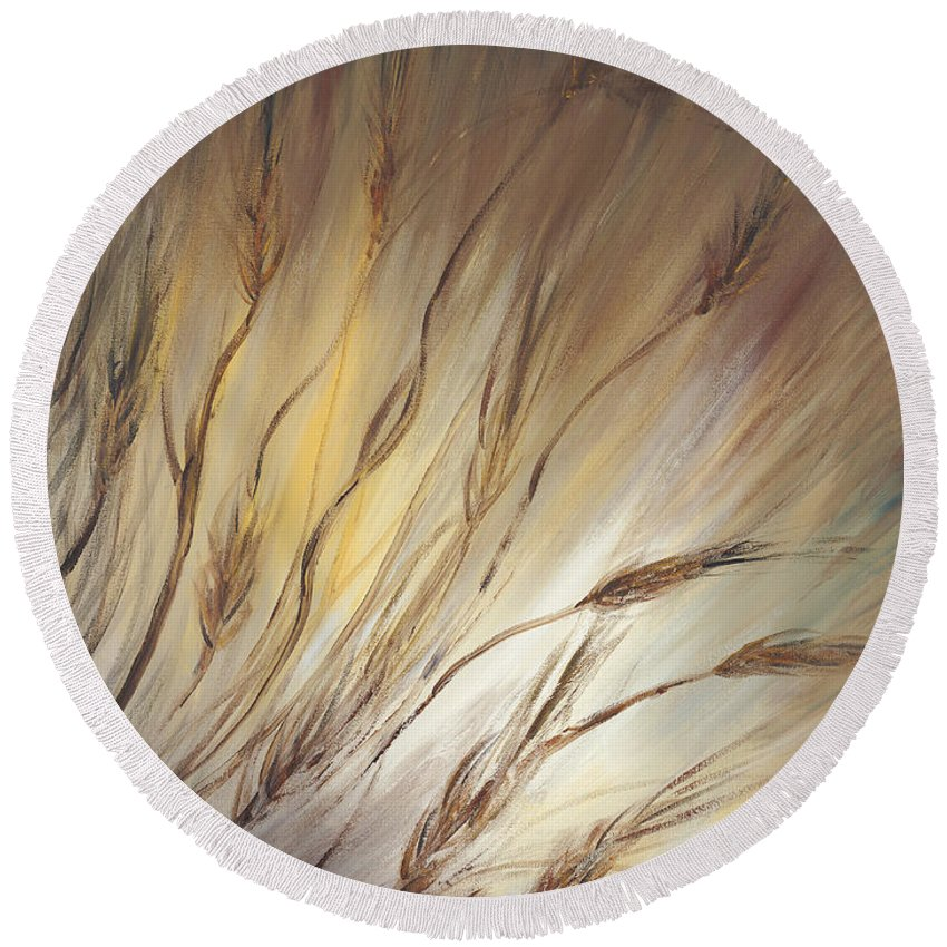 Wheat Round Beach Towel featuring the painting Wheat In The Wind by Nadine Rippelmeyer