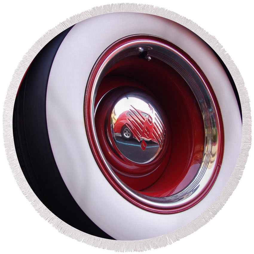 Classic Car Round Beach Towel featuring the photograph Wheel Reflection by Carol Milisen
