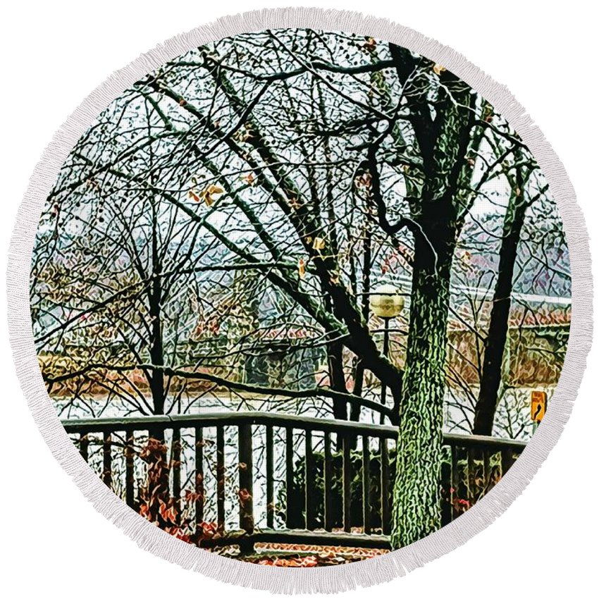 Round Beach Towel featuring the photograph Wheeling Waterfront by Lorie Kash