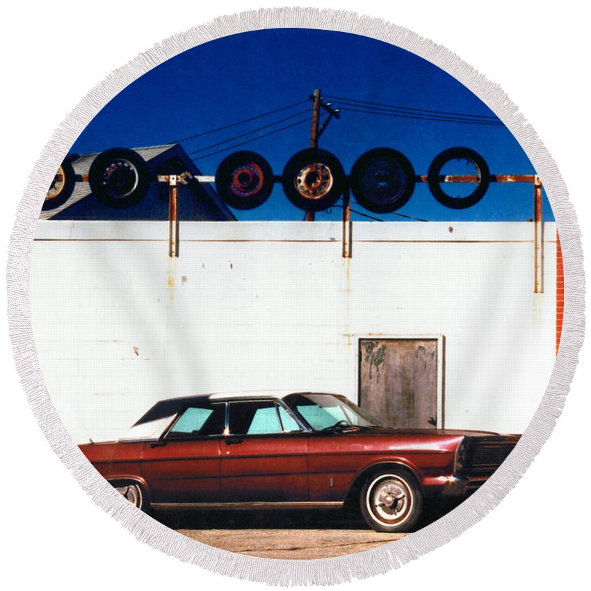 Cars Round Beach Towel featuring the photograph Wheels by Steve Karol