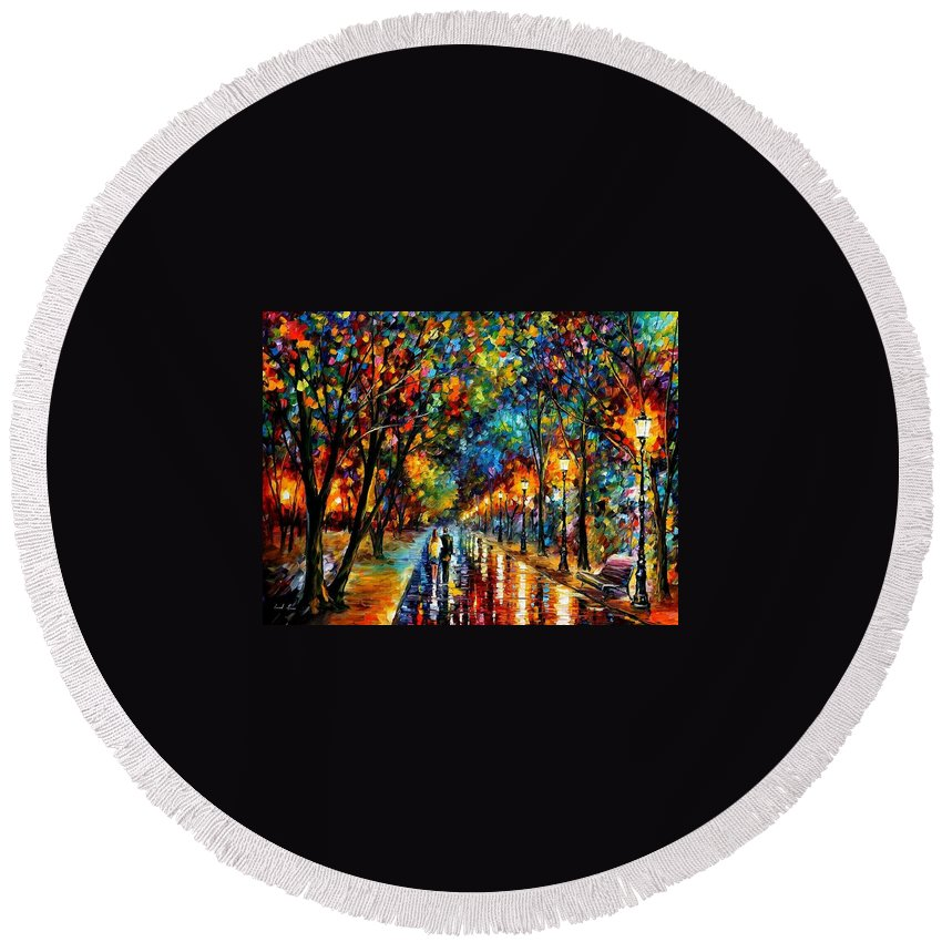 Landscape Round Beach Towel featuring the painting When Dreams Come True by Leonid Afremov