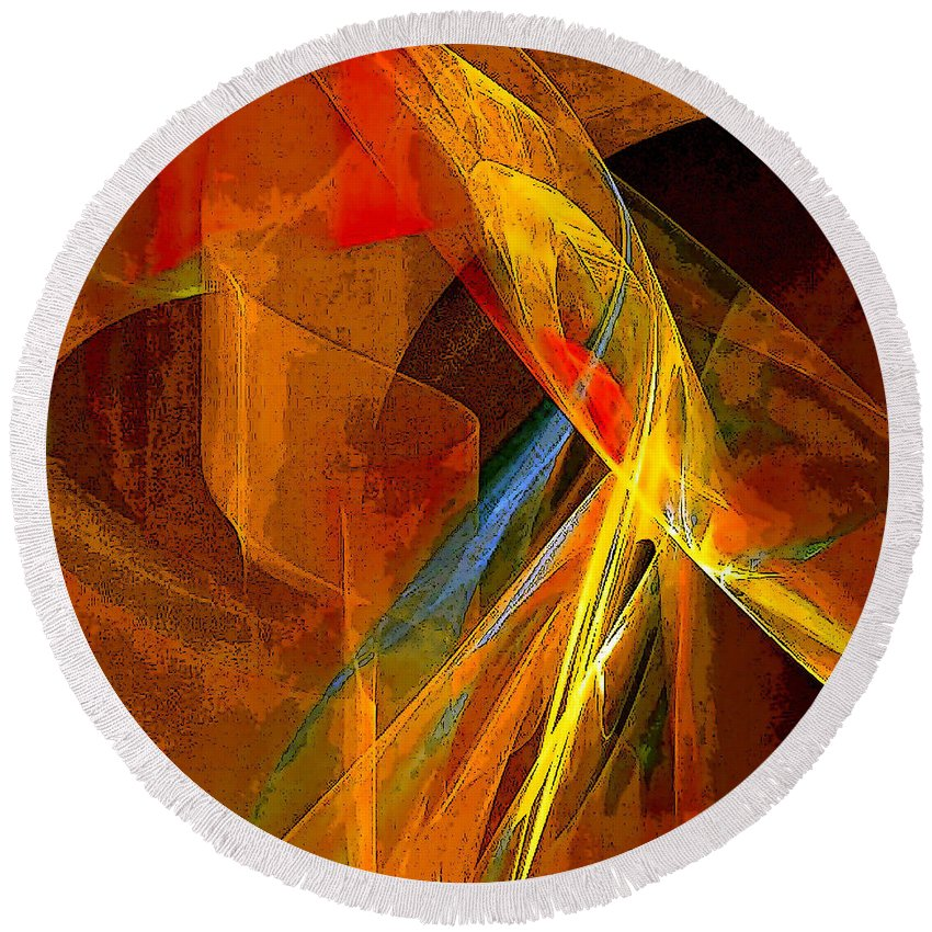 Abstract Round Beach Towel featuring the digital art When Paths Cross by Ruth Palmer