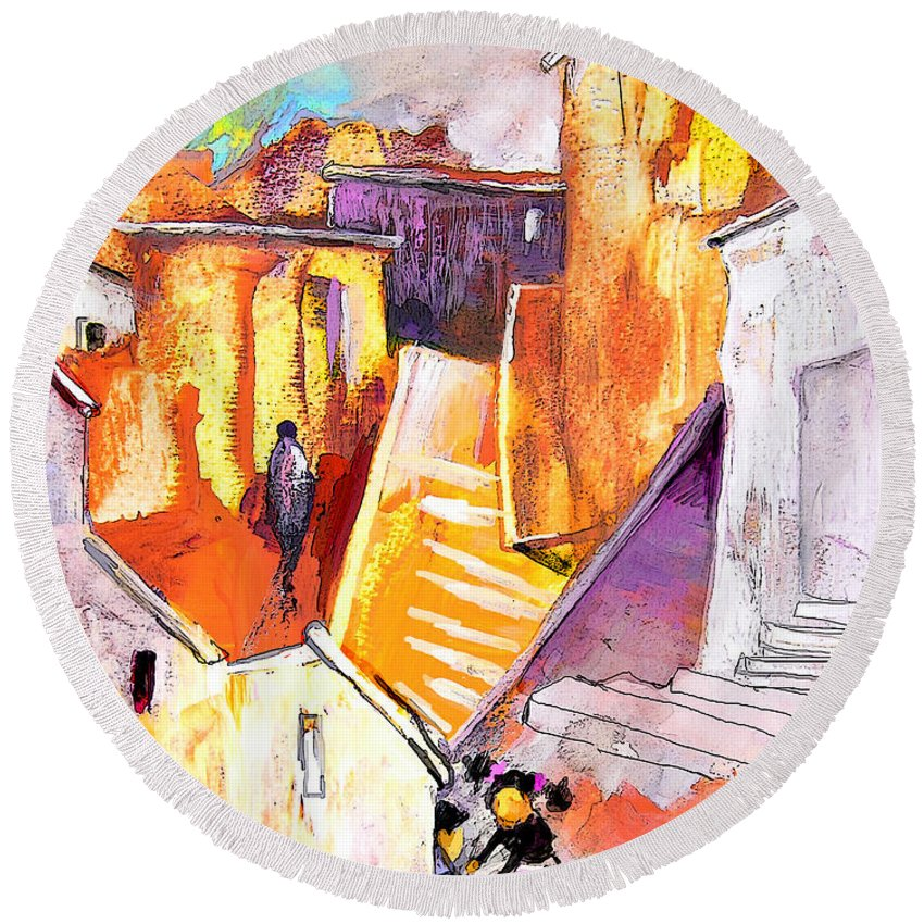 Townscape Round Beach Towel featuring the painting When The Cat Is Away The Mice Will Dance by Miki De Goodaboom