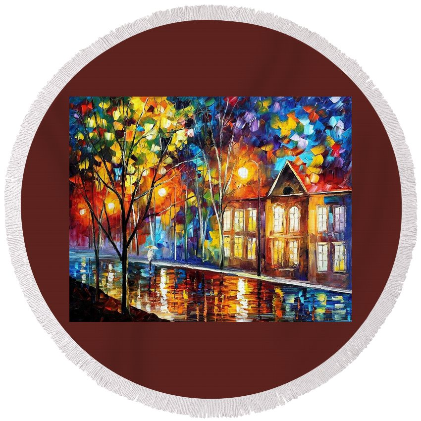 Art Gallery Round Beach Towel featuring the painting When The City Sleeps 2 - Palette Knife Oil Painting On Canvas By Leonid Afremov by Leonid Afremov