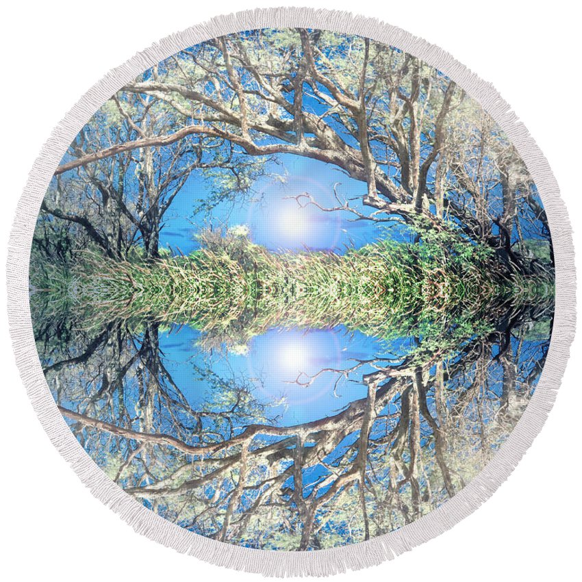 Tree Round Beach Towel featuring the photograph When Trees Embrace by Tara Turner