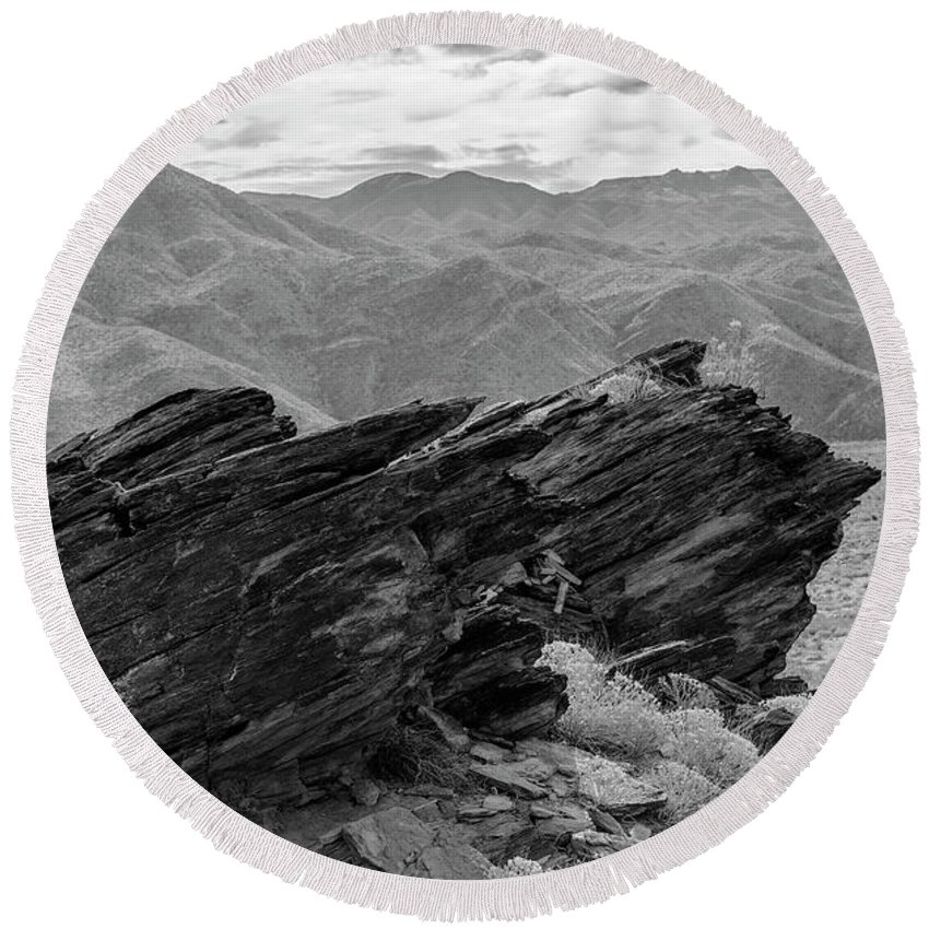 Rock Formation Round Beach Towel featuring the photograph Where Andreas Meets Murray Bw 1 by Scott Campbell
