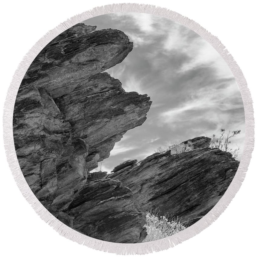 Rock Formation Round Beach Towel featuring the photograph Where Andreas Meets Murray Bw 3 by Scott Campbell