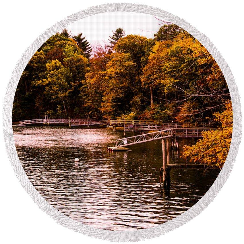 Autumn Round Beach Towel featuring the photograph Where Are The Boats by Michael Goodin