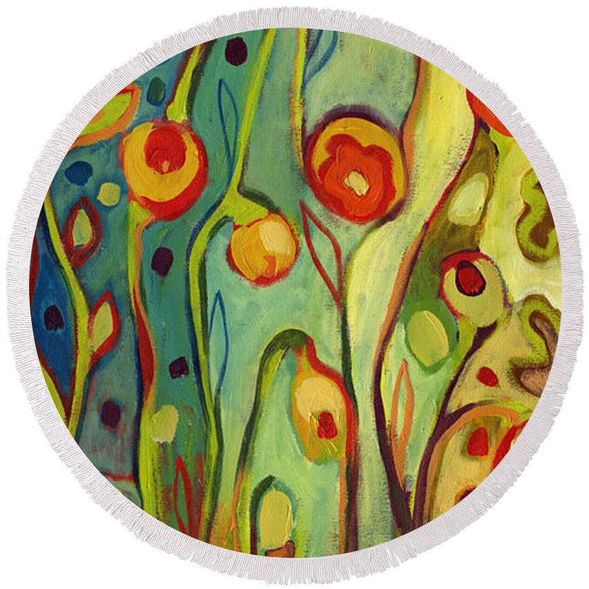 Floral Round Beach Towel featuring the painting Where Does Your Garden Grow by Jennifer Lommers