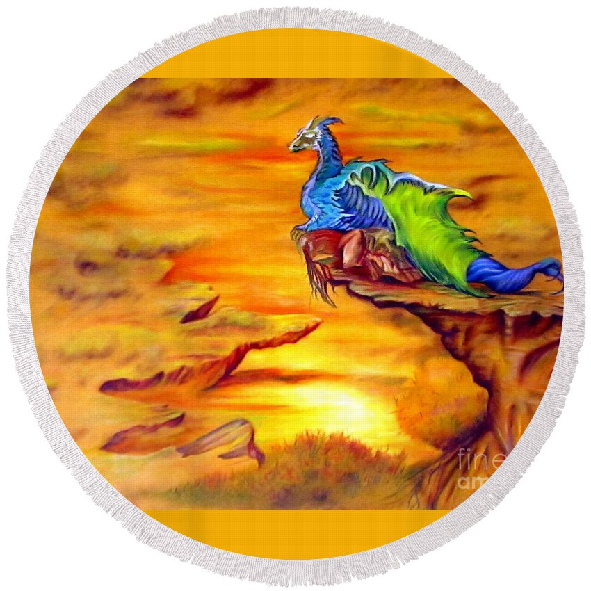 Dragons Round Beach Towel featuring the painting Dragons Valley by Georgia's Art Brush