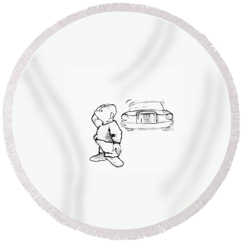 Man Round Beach Towel featuring the drawing Where I Am... by Line Gagne