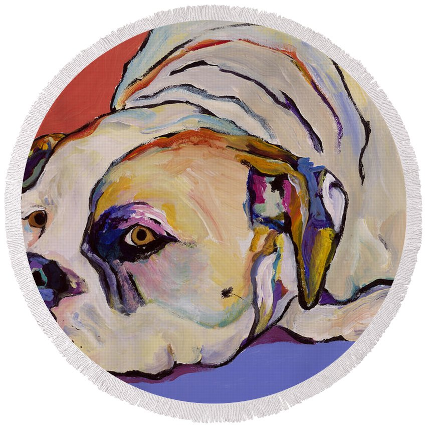 American Bulldog Round Beach Towel featuring the painting Where Is My Dinner by Pat Saunders-White