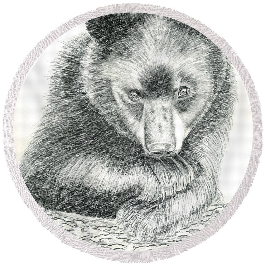 Black Bear Round Beach Towel featuring the drawing Where by Joette Snyder