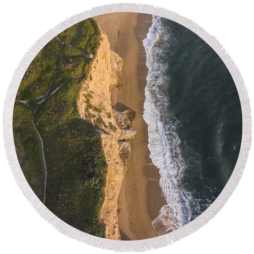 Above Round Beach Towel featuring the photograph Where Land Meets The Sea by David Levy