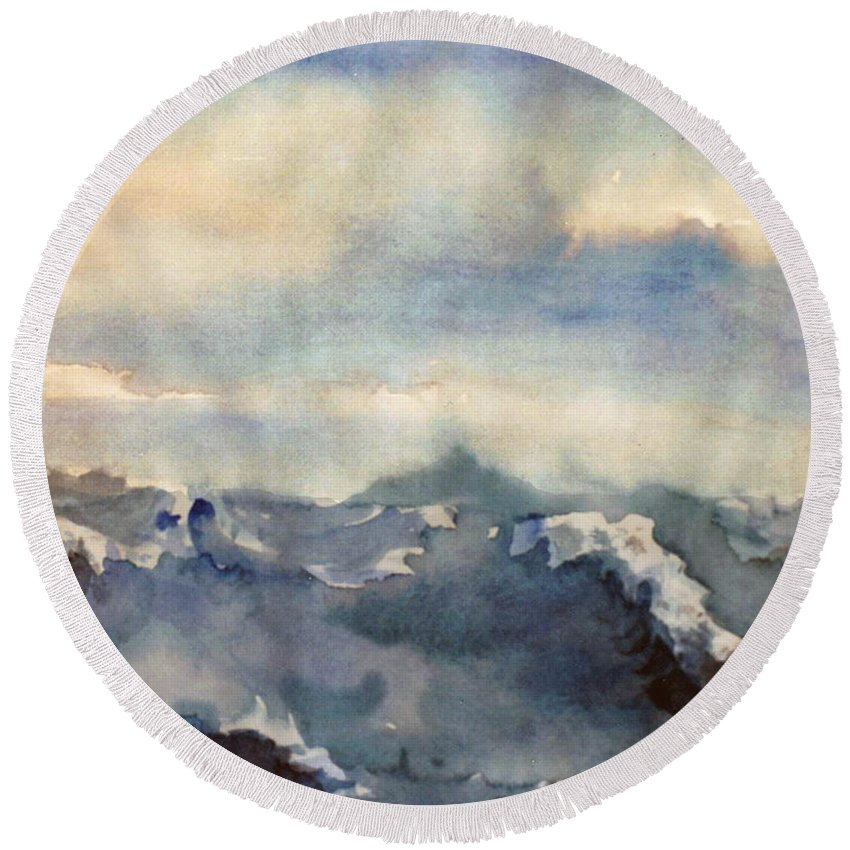 Seascape Round Beach Towel featuring the painting Where Sky Meets Ocean by Steve Karol