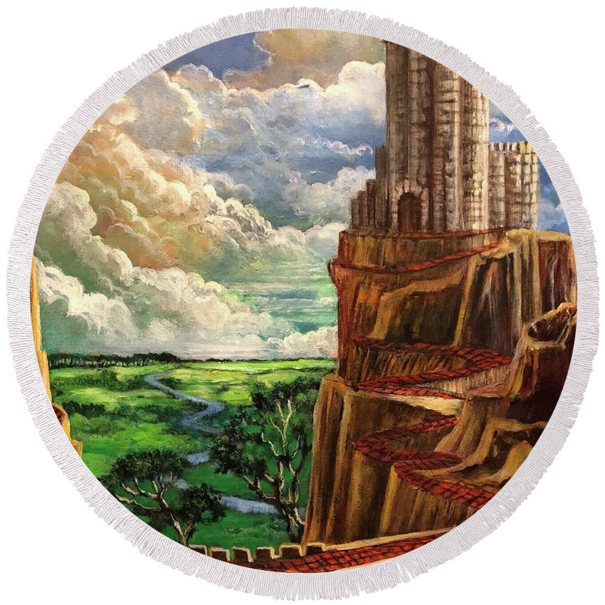 Oz Round Beach Towel featuring the painting Where The Red Brick Road Leads by Randy Burns
