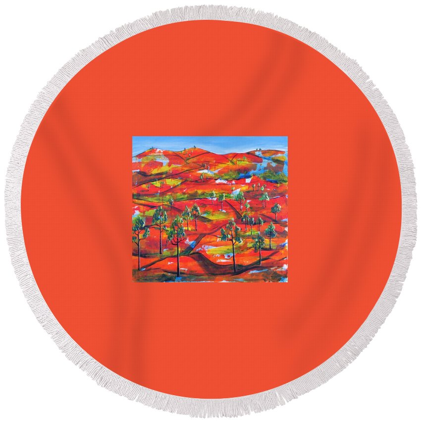 Landscape Round Beach Towel featuring the painting Where The Road Goes   by Rollin Kocsis