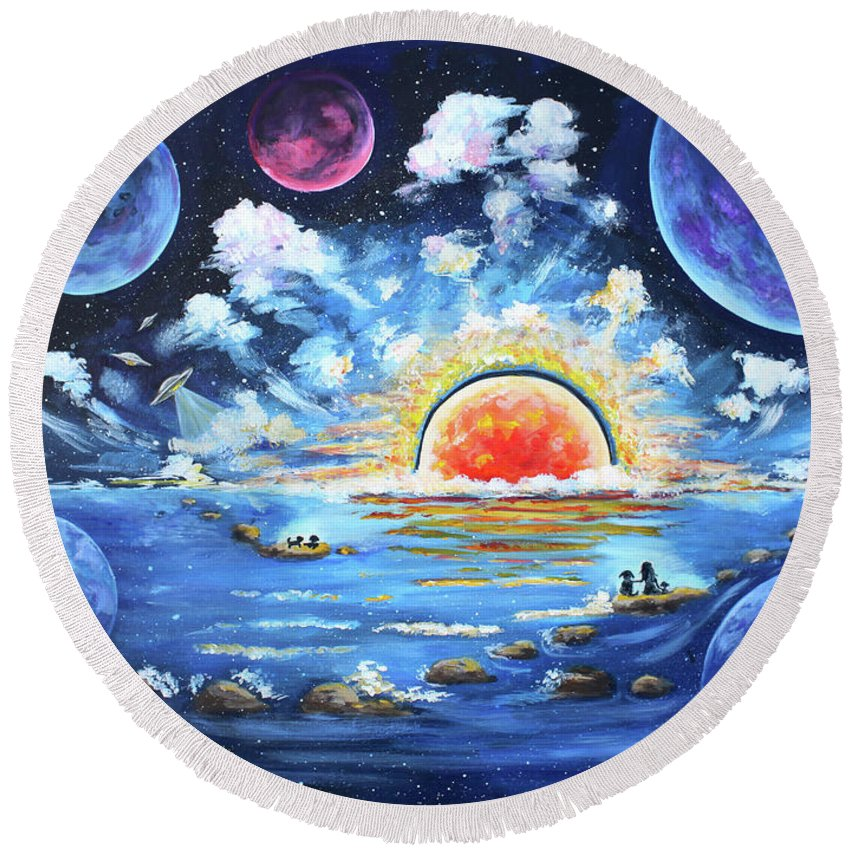 Fantasy Round Beach Towel featuring the painting Where Worlds Collide by Diana Haronis