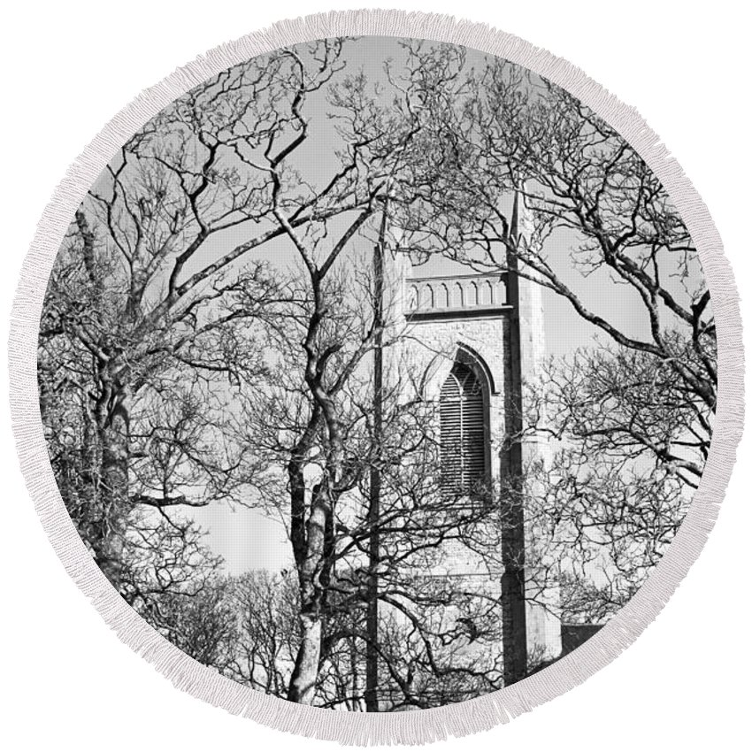St. Columba's Church Of Ireland Round Beach Towel featuring the photograph Where Yeats Lies In Bw by Jennifer Robin