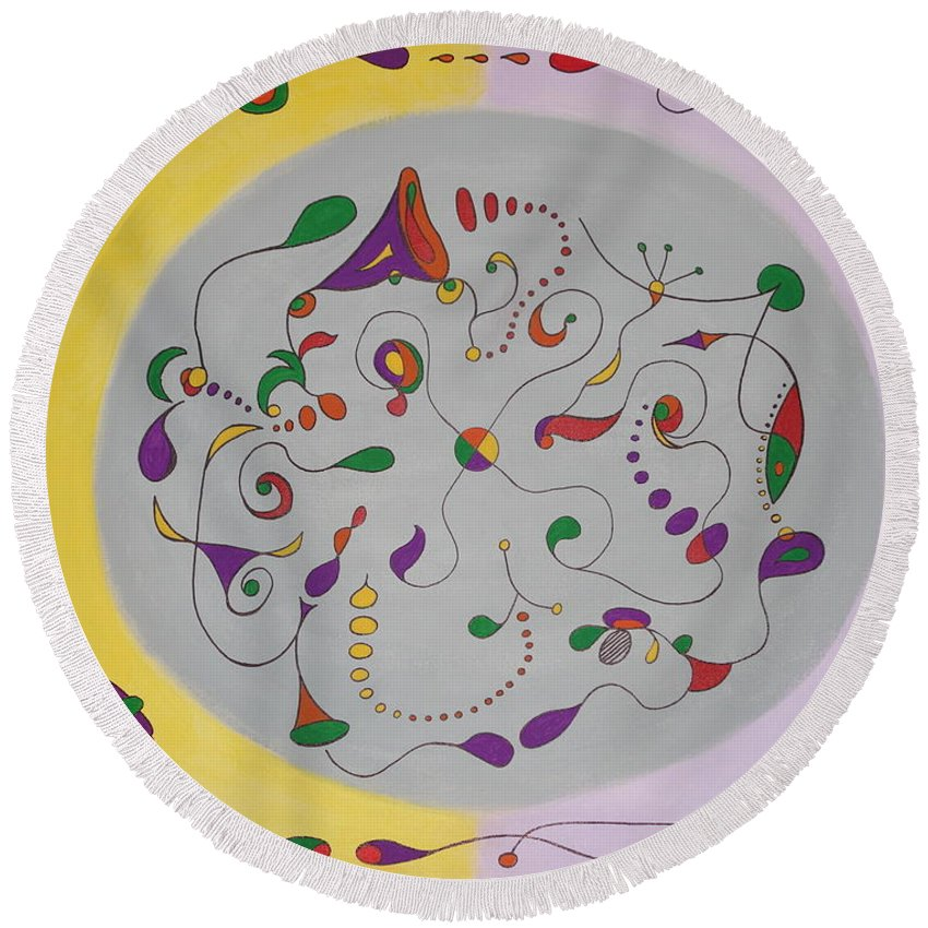 Acrylic Painting Round Beach Towel featuring the painting Whimsical Circle by Ron Snyder