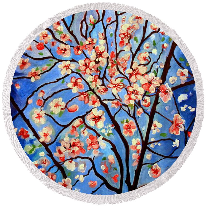 Cherry Blossoms Round Beach Towel featuring the painting Whimsical by Elizabeth Robinette Tyndall