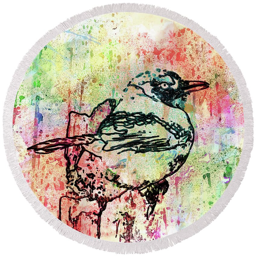 Whimsical Tit Bird Round Beach Towel featuring the mixed media Whimsical Tit Bird by Georgiana Romanovna