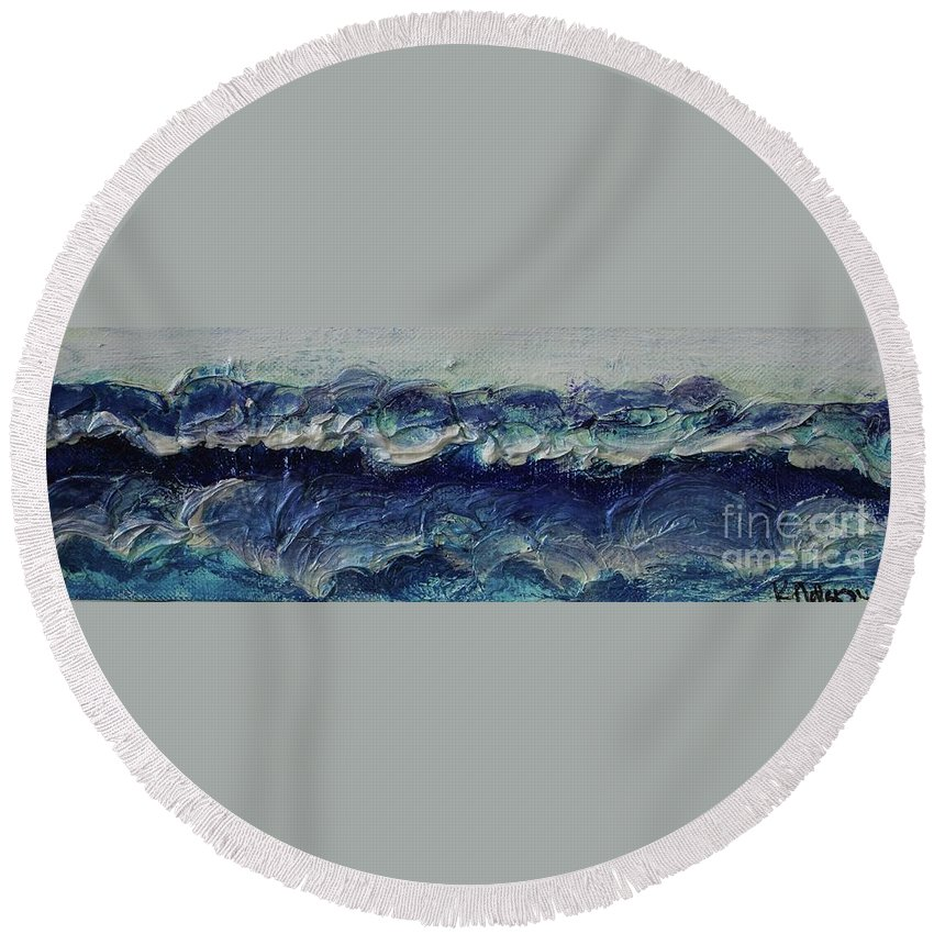 Whipped Cream Round Beach Towel featuring the painting Whipped Cream Waves by Kim Nelson