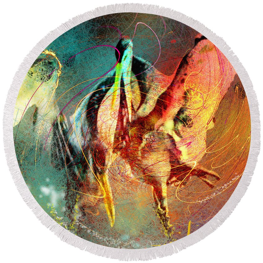 Miki Round Beach Towel featuring the painting Whirled In Digital Rainbow by Miki De Goodaboom