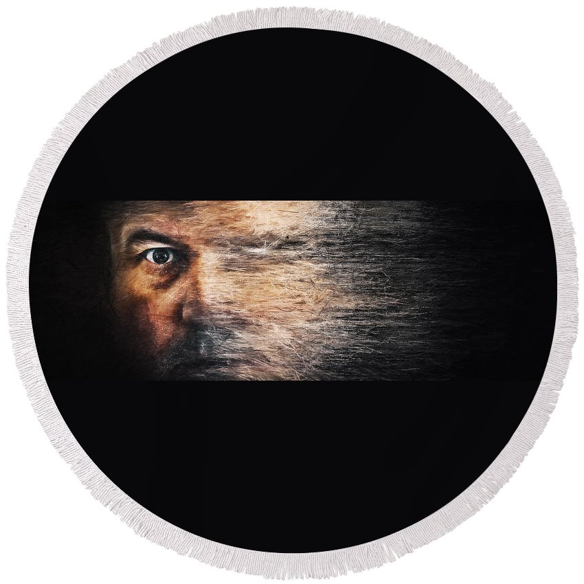 Scott Norris Photography Round Beach Towel featuring the photograph Whirlwind Of The Mind by Scott Norris
