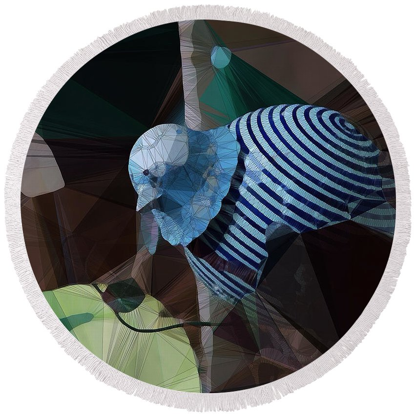 Abstract Round Beach Towel featuring the digital art Whirly Bird by David Derr