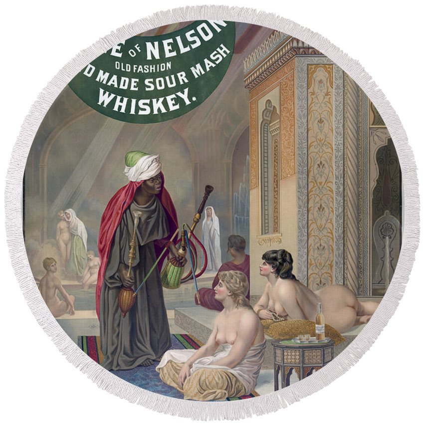 1888 Round Beach Towel featuring the painting Whiskey Ad by Granger