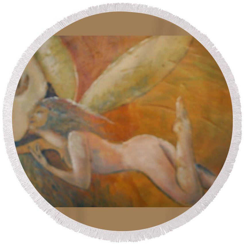 Fairy Round Beach Towel featuring the painting Whisper by J Bauer