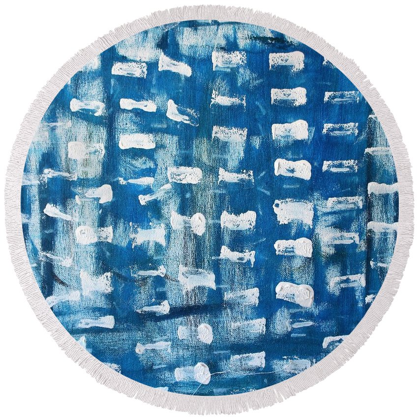 Blue Round Beach Towel featuring the painting Whispering Pines by Pam Roth O'Mara
