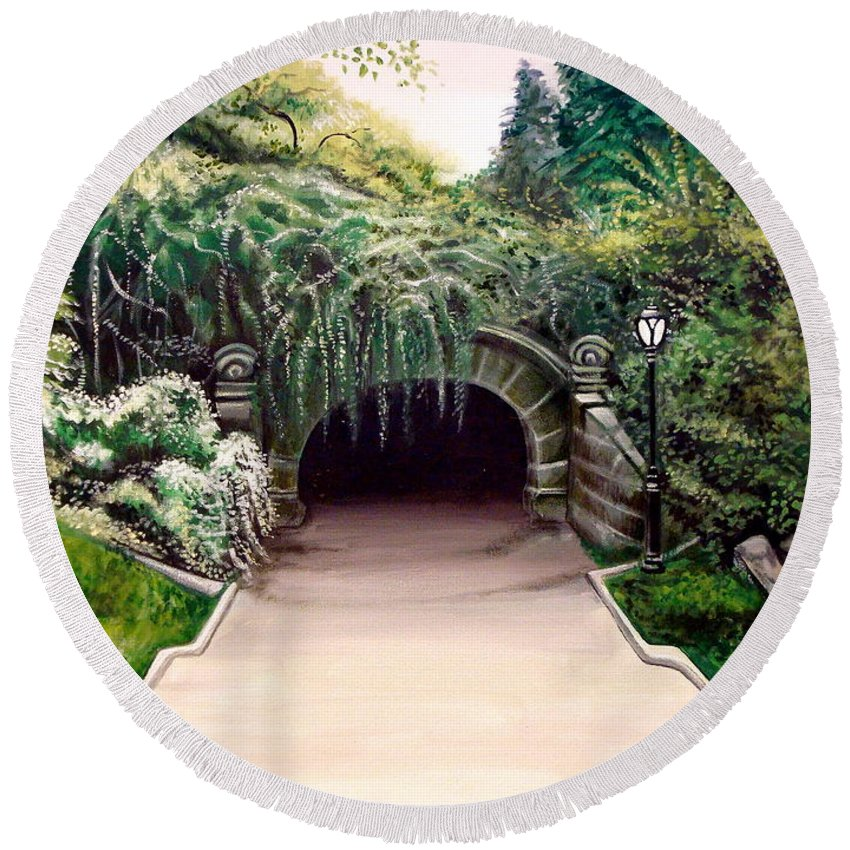 Landscape Round Beach Towel featuring the painting Whispering Tunnel by Elizabeth Robinette Tyndall