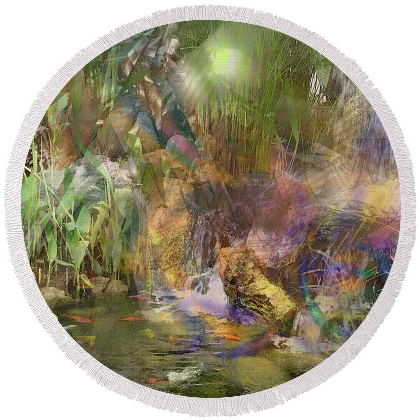 Whispering Waters Round Beach Towel featuring the digital art Whispering Waters by John Beck