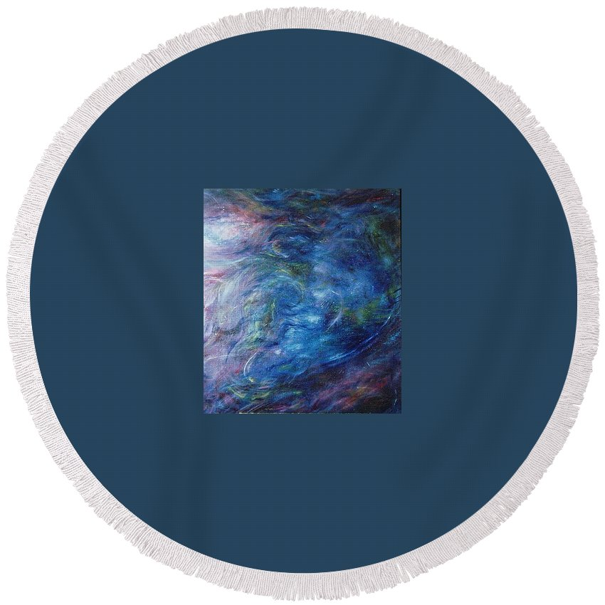 Abstract Round Beach Towel featuring the painting Whispers In A Sea Of Blue by Nancy Mueller